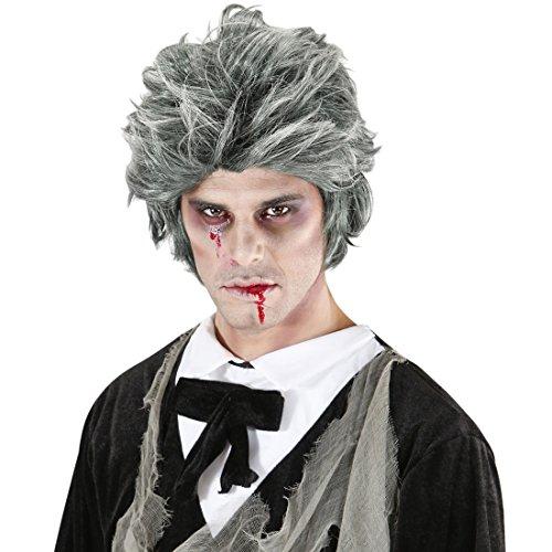 Amakando Herrenperücke Untoter Halloweenperücke Monster Männerperücke verrückter Professor Kurzhaarperücke Halloween Faschingsperücke Herren Graue Zombie Perücke