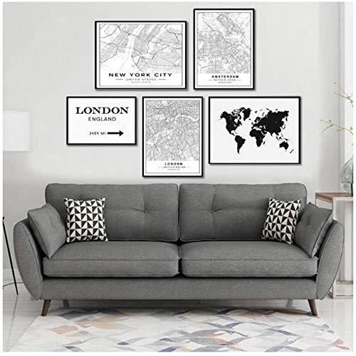 Hchwan Minimalista mundialmente Famoso Mapa Ciudad
