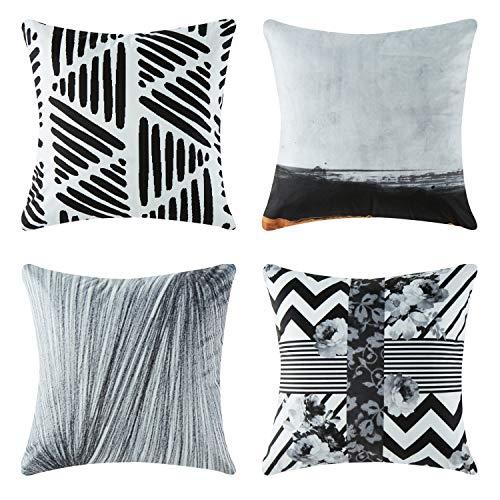 4 Stück Outdoor Sofa (Top Finel Geometrie Dekorative Überwurf Kissenbezug 50,8 x 50,8 cm Weiche Microfaser Outdoor Kissen Hüllen für Couch Sofa Bett 50x50 cm 4 Stück Schwarz Weiß)