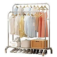 UDEAR ZHUJIA UDEAR Garment Freestanding Hanger Double Rods Multi-Functional Bedroom Stainless Steel Clothing Rack, Silver