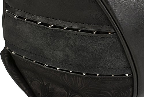 styleBREAKER Shopper Tasche mit Nieten und weichem Ornament Muster, Schultertasche, Umhängetasche, Damen 02012197, Farbe::Braun Schwarz