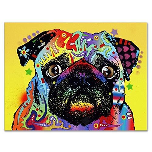 Raybre Art® Moderne Mops Wanddekoration Haupt Dekoration der Kunstdruck Ölgemälde -