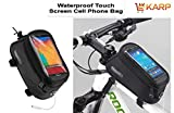 Bicycle Bag - Outdoor Waterproof Cycling Mountain Bicycle Bike Frame Panniers And Front Tube Bicycle Touchscreen Phone Case Reflective Bag - Bicycle Accessories For Universal Cell Phone 5.5' By KARP - Black Color