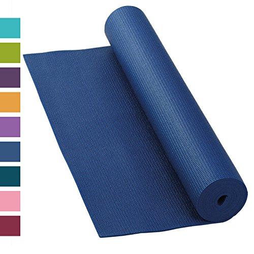 Yogamatte ASANA MAT, 183 x 60cm, 4mm PVC mit ÖKO-TEX 100, gute Yoga-Matte nicht nur für Anfänger, Sticky Mat, Gymnastikmatte, phtalatfrei, schadstofffrei (dunkel-blau)