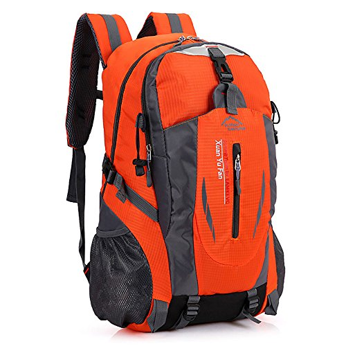 Zcl leggero zaino da escursionismo, 30l impermeabile in nylon Day Pack?Campeggio Rock climbing Travel Backpacking, unisex, Black Orange