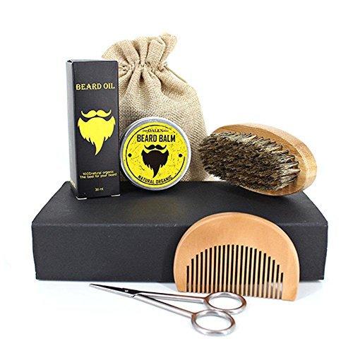 Kit entretien barbe homme, kit barbe homme 7 pcs avec peigne en bois, brosse à barbe, huile de barbe non parfumée, baume d'ours, ciseaux de barbier et sac de coton, meilleur cadeau