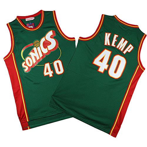 MMQQL Herren Trikot - Oklahoma City Thunder (Seattle Supersonics) # 40 Shawn Kemp Basketball Ärmelloses Top Fan Retro Version T-Shirt,Xl180~185cm/85~95kg