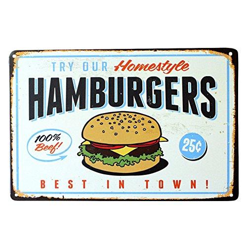 Sobotoo vintage Métal Poster Tin plaque fer Peinture Sign gâteau Snack Hamburger Motif rétro fer Décoration murale photos pour cadeau de barre de KTV Cafe Home Pub, G, 20 x 30 cm