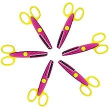 COM-four lot de 6 paires de ciseaux cranteurs ® avec découpes pour types de vagues rose/jaune