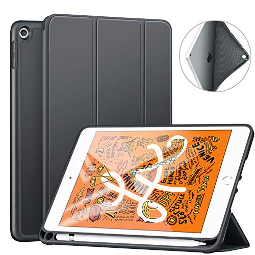 Ztotop Hülle für Neue iPad Mini 5th Generation 2019, Ultradünne Smart Cover Schutzhülle mit Stifthalter, leichte TPU Rückseite, Automatischem Schlaf/Aufwach, für 7.9 Zoll iPad Mini 5 2019 - Grau