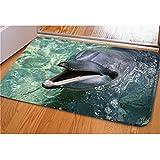 QGSDR Teppiche 3D Coole Tier Dolphin Print Home Boden Teppich F¨¹r Wohnzimmer Schlafzimmer Rutschfeste K¨¹Che Matte Teppiche C805CN 400mm x 600mm
