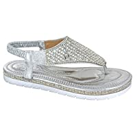 Ladies Womens Flat Low Wedge Platform Heel Diamante Summer Sandals Shoes Size Silver