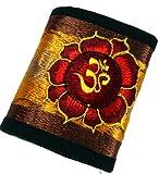 Guru-Shop Besticktes Portemonnaie Lotus OM, Herren/Damen, Gelb, Baumwolle, Size:One Size, 10x12 cm, Börsen aus Stoff, Hanf & Brokat