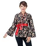 Wickelbluse Kimono Wickelshirt M L Baumwolle (M, Schwarz)