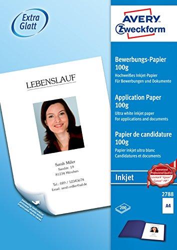 AVERY Zweckform 2788 Inkjet Bewerbungspapier (A4, beidseitig beschichtet, satiniert, 100 g/m², 200 Blatt)