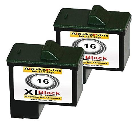Premium 2x cartouches d'encre compatibles pour remplacer Lexmark 16xl Noir