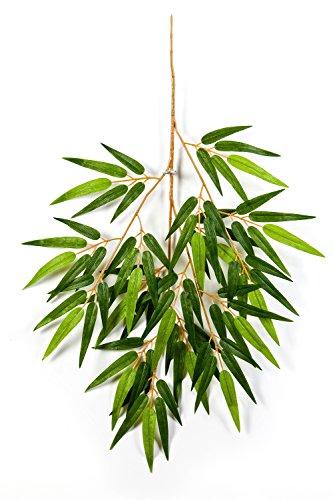 artplants Künstlicher Bambuszweig Takumi mit 80 Blättern, grün, 65 cm - Kunst Zweig/künstlicher Bambus