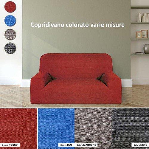 mentalshopwb Copridivano Made in Italy con Tessuto Elasticizzato estendibile Modello Africa Disponibile in Varie composizioni a Quatro posti Colore Nero