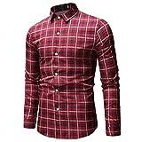 Langarmshirt Für Herren,Mode Slim Fit Langarmhemd Casual Plaid Longshirt Top Bluse Lange Ärmel T-Shirt Hemd Resplend