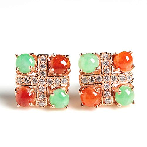 Zhiming Eine Ladung Eis Arten Smaragd Ohr Nagel Voll grünen Plus Rote Jade Eier Gesicht eingelegten 925 Versilbert Rose Gold Ohrringe Silber