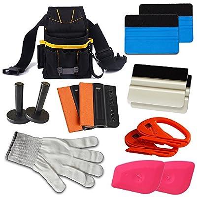 Ehdis® Automotive Vitres Teintées Kits: Tool Pouch, Felt Raclette, Magnet Holder, snitty Vinyl Cutter, gants résistant aux coupures, Lil Chizler Scraper