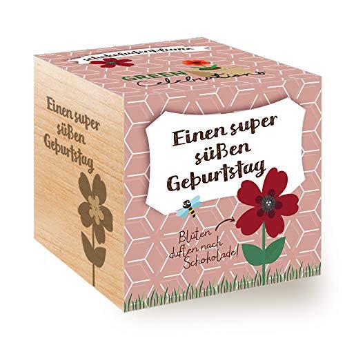 Feel Green Celebrations Ecocube, Schokoladenblume, Holzwürfel Mit Lasergravur «Einen Super Süßen Geburtstag», Nachhaltige Geschenkidee, Anzuchtset, Made in Austria