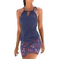 Vestido de playa para mujer, informal, sin mangas, liso, con cordones, falda con estampado floral, mini vestido de playa con estampado retro, Mujer, color azul marino, tamaño extra-large