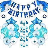 58 Stücke Hai Party Lieferungen Dekorationen, Beinhalten Hai Balloons, Sterne Balloons, Happy Birthday Banner und Hai Kuchendeckel für Geburtstag Babyparty Zeremonie Thema Party