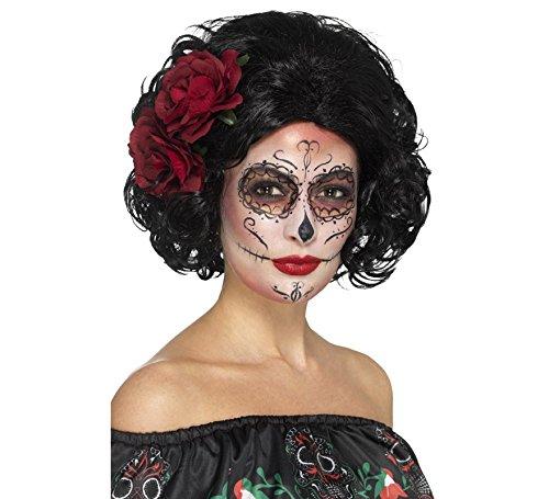 Smiffys Damen Deluxe Tag der Toten Puppen Perücke mit Rosen, One Size, Schwarz, 48313 (Tag Der Toten Kostüm Haar)