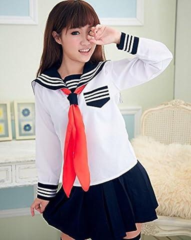 SEX WOMAM Reizvolles japanisches Kursteilnehmer-Schule-Mädchen-Seemann-Halloween Kostüm-Abendkleid-Uniform (eine Größe, Portraitfotographie) , student suit (no socks) , one (Fun Schule Halloween Kostüme)