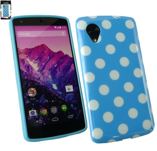 Emartbuy® Polka Dots Gel Skin Cover/Case Blue / White For LG Google Nexus 5  available at amazon for Rs.149