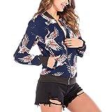 MRULIC Damen Kurzmantel Kurzjacke Open Jacke Sweatblazer Übergangsjacke Streetwear Outwear Baseball Mantel(Blau,EU-44/CN-2XL)