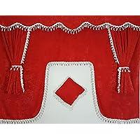 Juego de 5piezas rojo cortinas con borlas de color blanco Universal tamaño todos los modelos de camión cabina accesorios decoración tejido de felpa