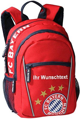 FC Bayern Kindergartenrucksack mit Ihrem Wunschtext in Ihrer Wunschfarbe (Schriftart Arial, Glitzereffekt Gold) Glitzereffekt Weiss