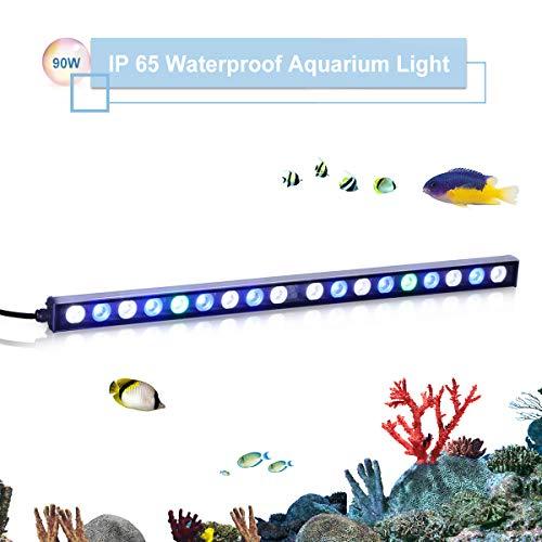 TOPLANET 90w Led Aquarium Beleuchtung Pflanzen Lichter Aquarien Meerwasser Led Lampe Blue White Light für Nano Fisch Riff Growth 180° Einstellbar Haken 55cm -