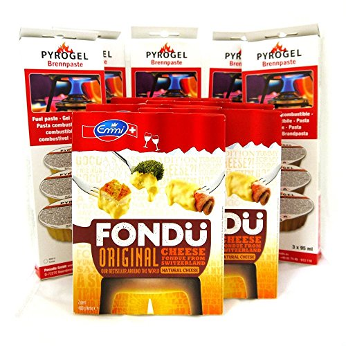 Fondue de queso & Fuel 5 Pack - 5 x Emmi Suiza Queso (400g) y 5 x brennpaste Gel Combustible (3 x 95 ml)