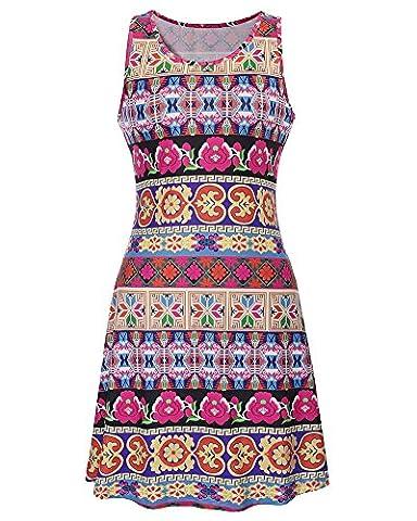 Damen Sommerkleid Drucken knielang Ärmellos Rundkragen A-Linie Strandkleid 617 Als Bild 2XL