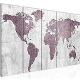 Bilder Weltkarte World Map Wandbild 200 x 80 cm Vlies - Leinwand Bild XXL Format Wandbilder Wohnzimmer Wohnung Deko Kunstdrucke Rosa Grau 5 Teilig - MADE IN GERMANY - Fertig zum Aufhängen 104355a