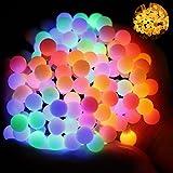 Wasserdicht Kugel Lichterkette, 60 LED Lichterkette Bunt, 8 Lichtermodi mit Merkfunktion, Innen und Außen Deko Glühbirne, Weihnacht Sbeleuchtung für Hochzeit, Weihnachtsbaum