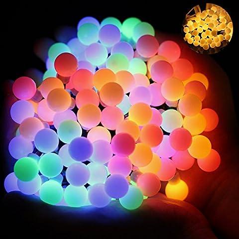 Wasserdicht LED Globe Lichterkette, 60 LED Lichterkette bunt, Innen und Außen Deko Glühbirne, Weihnacht sbeleuchtung für Hochzeit, Party, Weihnachtsbaum [Energieklasse