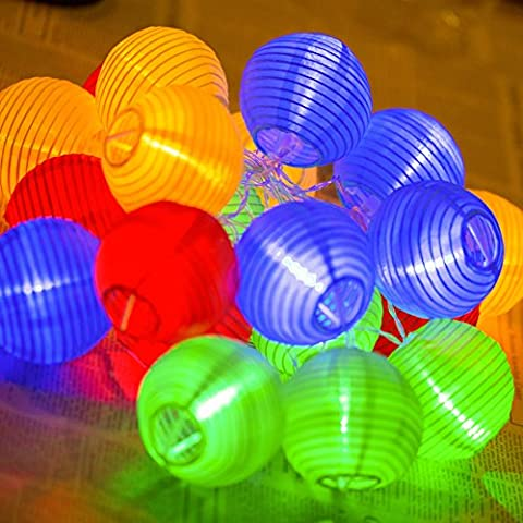 Uping battery operated LED Fairy Lights 2 Mode String light 20 Lampion Lantern 4.2M Multi color for Indoor Outdoor Party Garden Christmas Halloween Wedding Home Bedroom Yard Deck Decoration