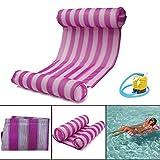 TheBlueStone Wasser Hängematte Pool Strand Schwimmende Liege Liege Float Floß Stuhl Aufblasbare PVC Badematte-Rosa