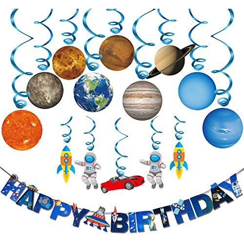 (Konsait Kindergeburtstag Deko (16 teilig Set) , Weltraum Sonnensystem Hängedekoration Geburtstag Deckenhänger Spiral Girlanden and Happy Birthday Banner für Mädchen und Jungen Geburtstag Dekoration)