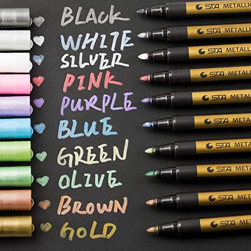 ker Stifte,10 Farben Permanent Metallischen Marker pens für Kartenherstellung DIY Fotoalbum Gästebuch Gebrauch auf irgendeiner Papier, Glas, Kunststoff, Keramik, Stein, Holz ()