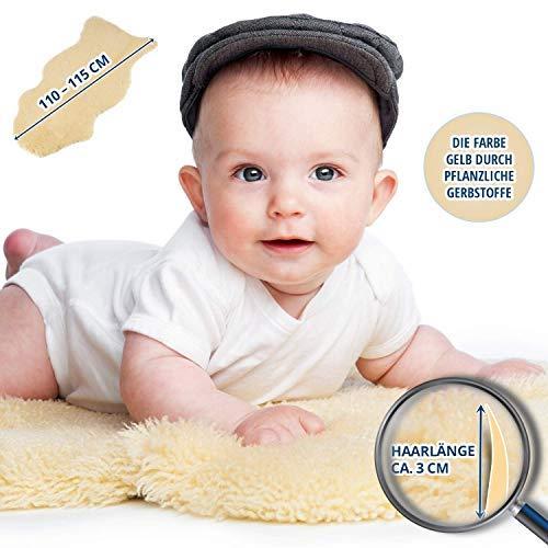 Amazinggirl Lammfell Kinderwagen Baby schaffell echt - Babyfell öko Teppich Schafsfell medizinisch gegerbt Fell 110-120 cm (Nicht gefärbt, 110 x 120)
