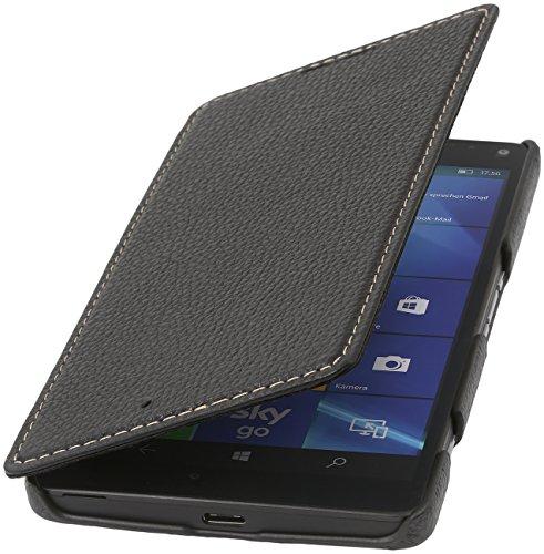 StilGut Book Type Case ohne Clip, Hülle aus Leder für Microsoft Lumia 950 XL / 950 XL Dual SIM, schwarz