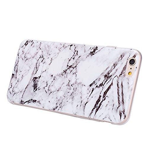 Etsue pour [ iPhone 6 Plus,6S Plus(5.5 Pouce) ] Doux Protecteur Coque,TPU Matériau Frame est Transparent Soft Cover pour iPhone 6 Plus,6S Plus(5.5 Pouce),Marbre Motif par Dessin de Mode Case Coque pou Blanc