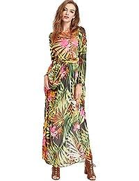ZLL Balançoire Robe Femme Sortie Soirée / Cocktail Chic de Rue,Fleur Col Arrondi Maxi Manches Longues Polyester Eté Taille Normale , 3xl