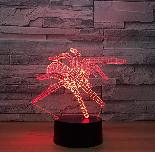 Spider 3D Stereo Vision Led Lamp Integrated Plastic Base Acrylic Night Light Christmas Decorations Baby'S Room Kids Lights Lamps Touch Switch 7 Color Change - Stereo-spider Auto