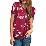 iYmitz Sommer Beiläufig Damen Kurzarm T-Shirt mit Blumendruck Frauen Beiläufig Drucken Rundausschnitt Bluse Tops Oberteil Shirts(Rot,EU-34/CN-S)